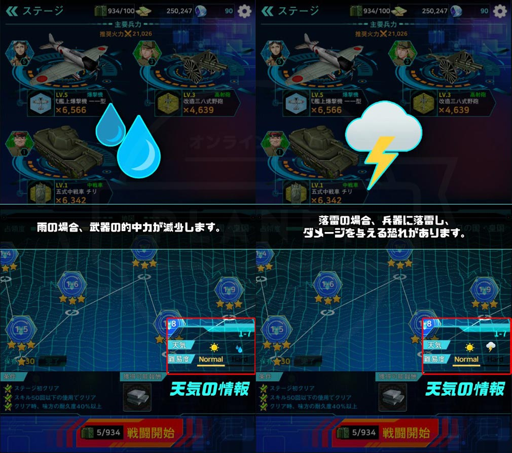 戦御村正M 戦乱に舞い散る花 天候『雨』『落雷』で起こる効果紹介スクリーンショット