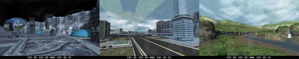 ガンダムブレイカーモバイル(ガンブレ) 戦場ステージ『月面丘陵』、『コロニー内部 市街地』、『コロニー内部 河川』紹介イメージ