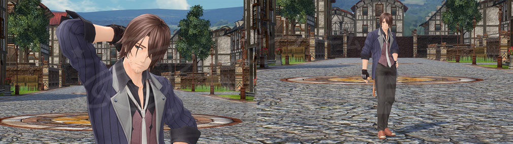 テイルズ オブ クレストリア(テイクレ) メインキャラクター『オウレン・グランバーグ(Orwin Granberg)』のバストアップ、全身スクリーンショット