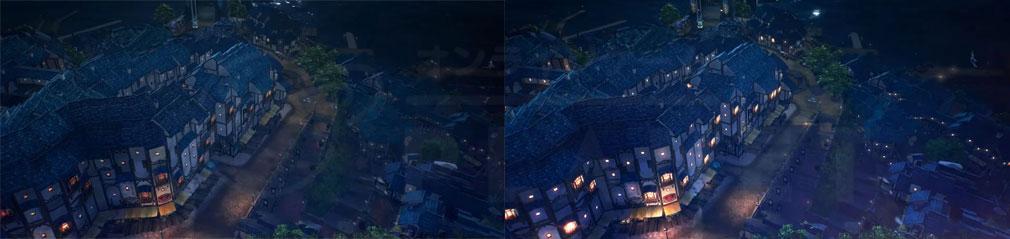 BLUE PROTOCOL(ブループロトコル)ブルプロ 街のライトアップ前と後のスクリーンショット