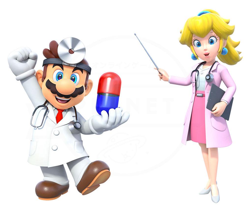 ドクターマリオ ワールド(Dr. Mario World) マリオ、ピーチ姫紹介イメージ