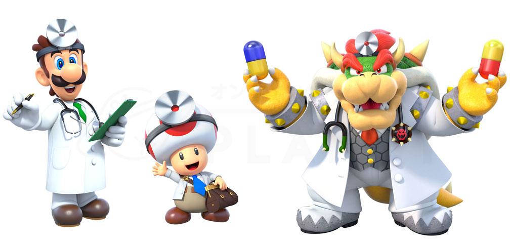 ドクターマリオ ワールド(Dr. Mario World) ルイージ、ピノッキオ、クッパ紹介イメージ