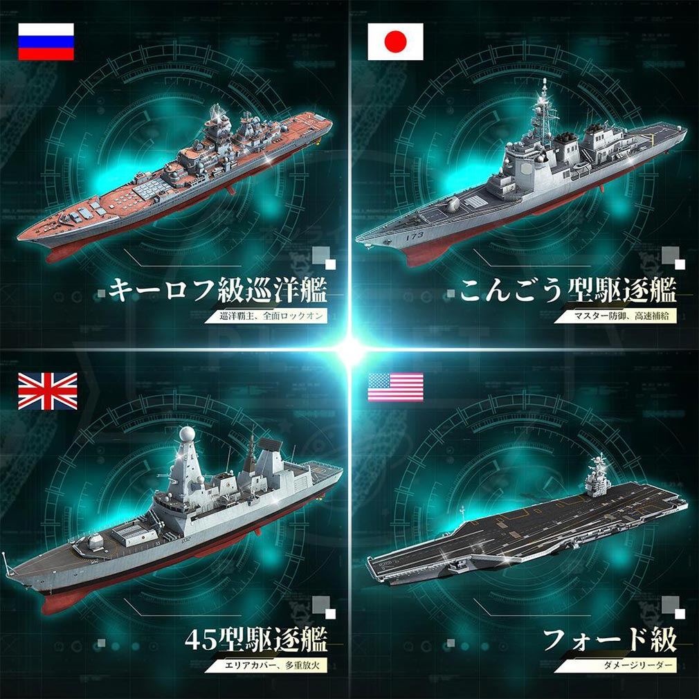 スーパー戦艦 地海伝説 各国特別戦艦紹介イメージ