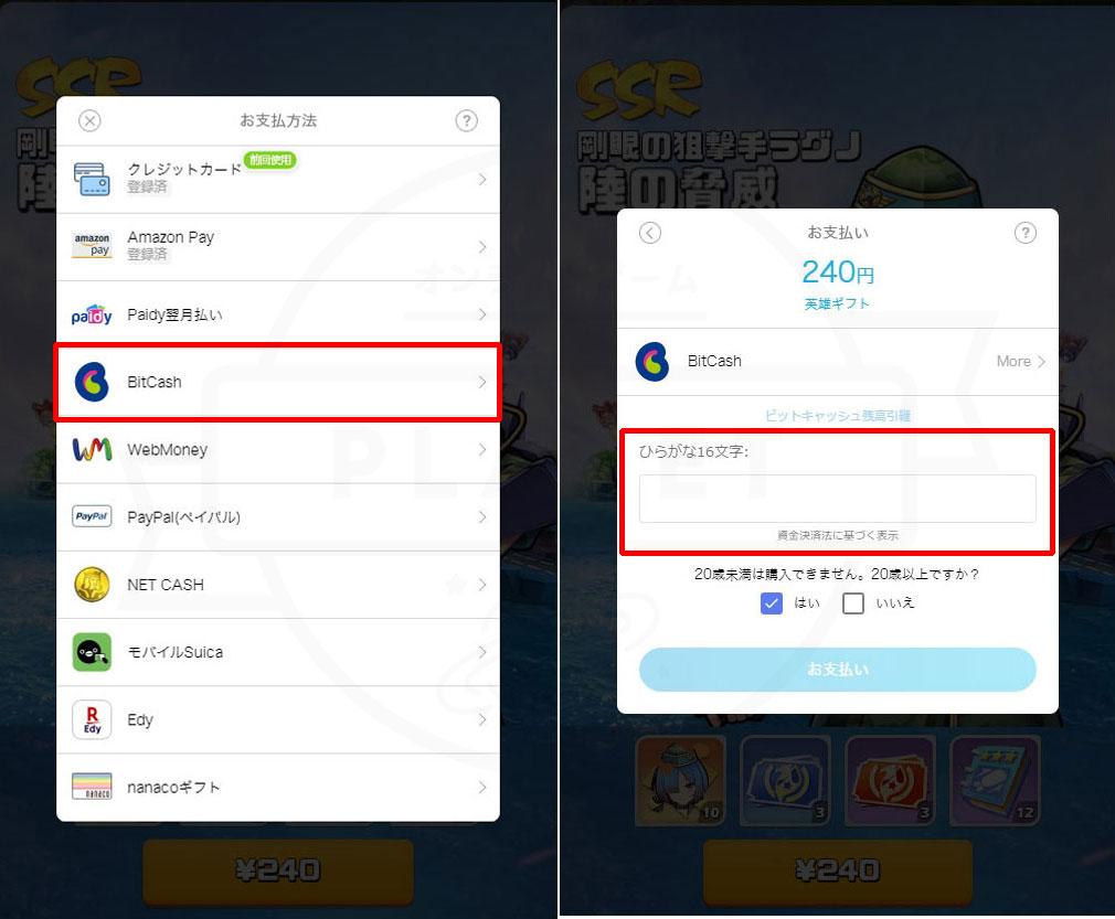 『G123』ゲーム内支払い方法『BitCash(ビットキャッシュ)』選択紹介スクリーンショット