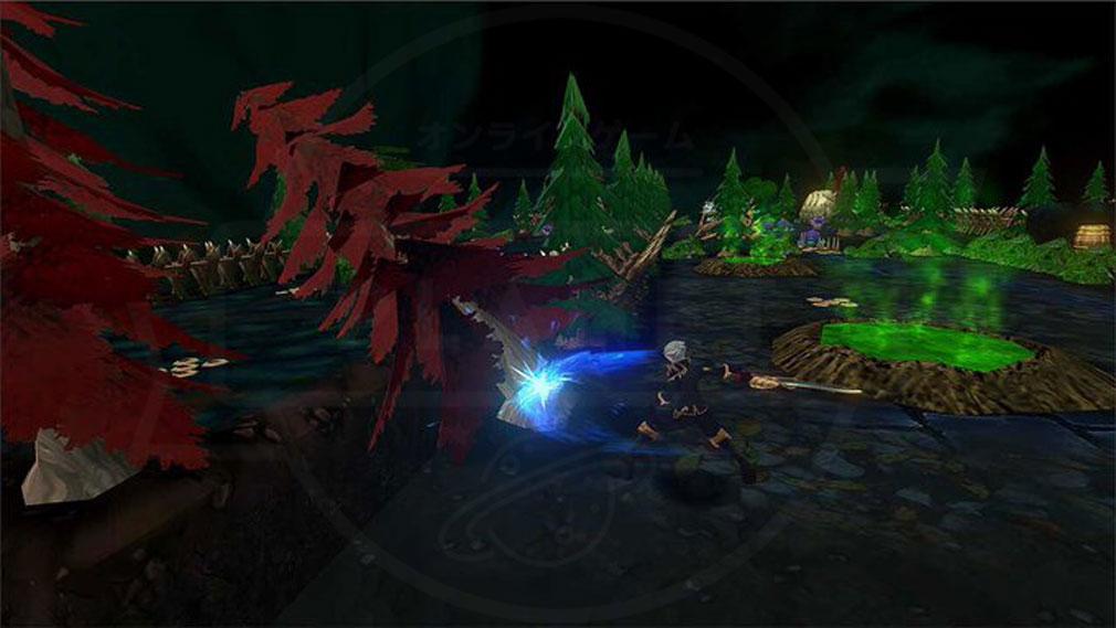 クレサマルス物語 『ソロモンの斧』で木を切り倒して橋を作るスクリーンショット