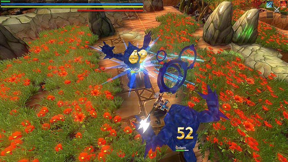クレサマルス物語 敵がガードブレイクや、大ダウンしたら、連続攻撃を繰り出すスクリーンショット