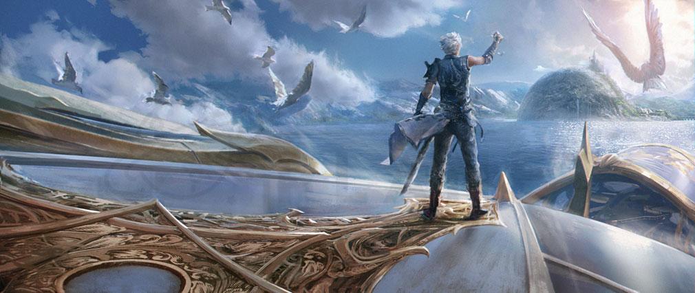 ETERNAL(エターナル) ノックシア大陸の果てを見据えて羽ばたく飛空艇の甲板には、大いなる使命に導かれたひとりの青年のコンセプトアート紹介イメージ