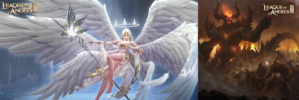 League of Angels3 リーグ オブ エンジェルズ3(LoA3)日本 女神族と魔族の争いが描かれた世界観紹介イメージ