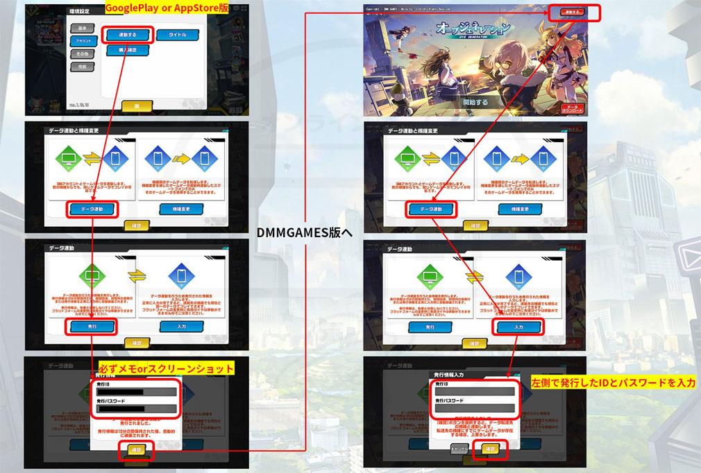 オーブジェネレーション(OVE GENERATION)オブジェネ DMMゲーム版と、App Store版&Google Play版の『連携方法』まとめ紹介イメージ