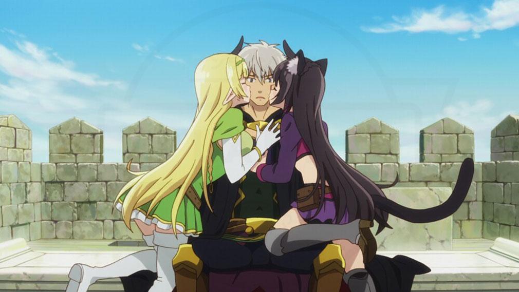 原作『異世界魔王と召喚少女の奴隷魔術』隷従の儀式で二人にキスされているシーンイメージ