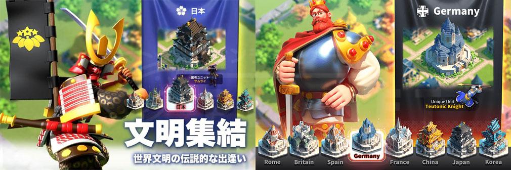Rise of Kingdoms 万国覚醒(ライズオブキングダム)RoK ライキン 世界文明紹介イメージ