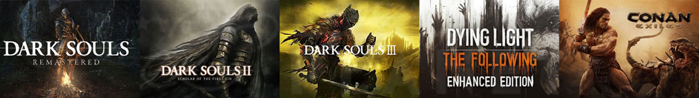 GeForce NOW(ジーフォースナウ) タイトルラインナップ「DARK SOULS REMASTERED(ダークソウル リマスタード)」「DARK SOULS II SCHOLAR OF THE FIRST SIN(ダークソウル2)」「DARK SOULS III(ダークソウル3)」「DYING LIGHT ENHANCED EDITION(ダイイングライト)」「Conan Exiles(コナンエグザイル)」紹介イメージ