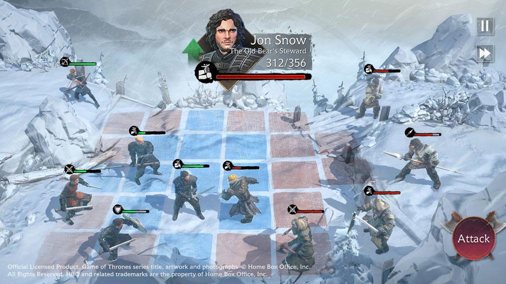 ゲームオブスローンズ Beyond the Wall 『ジョン・スノウ』を編成したバトルスクリーンショット