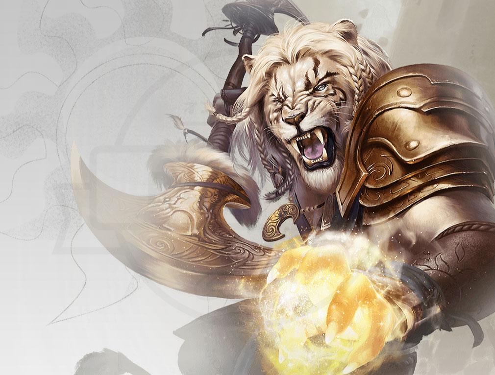 マジック マナストライク(Magic ManaStrike) マナ『白』を代表するプレインズウォーカー『黄金のたてがみのアジャニ』紹介イメージ