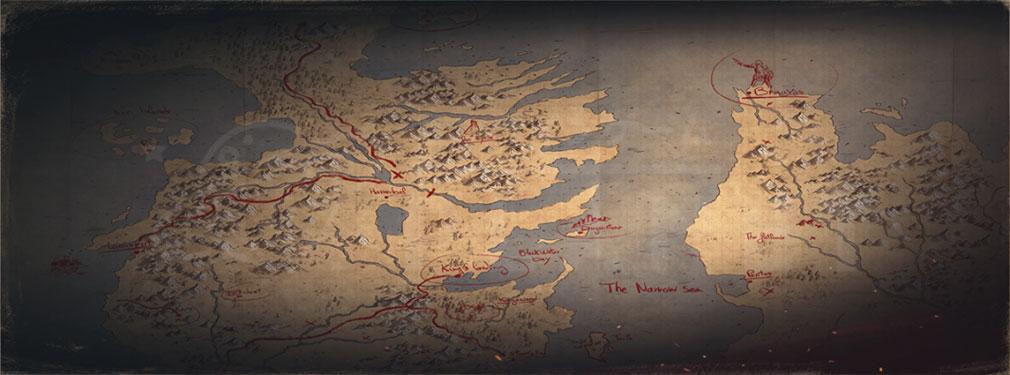 ゲームオブスローンズ Beyond the Wall ゲーム内で資源を集められる2つの地域『北部』と『王室領』紹介イメージ