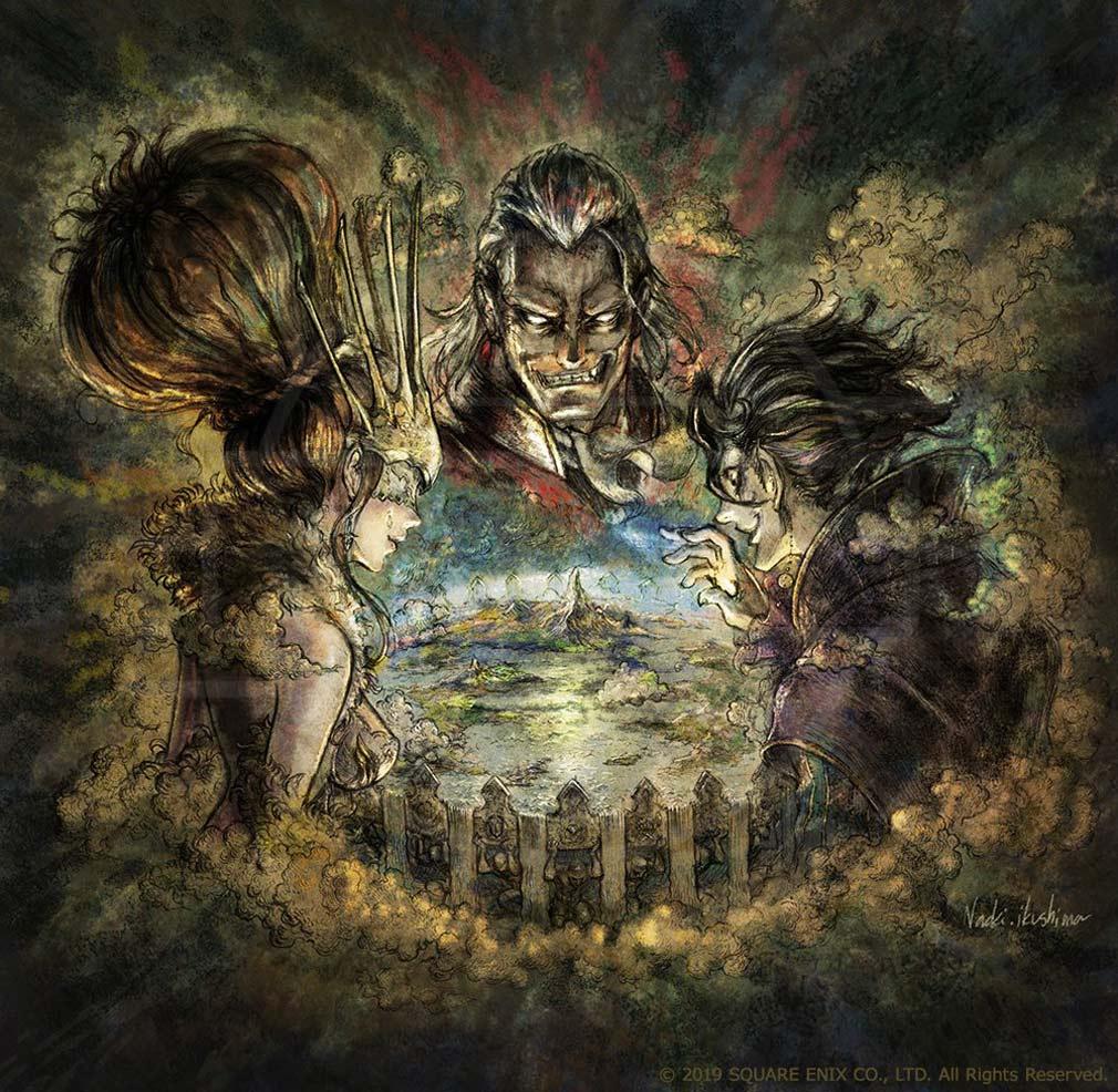 オクトパストラベラー 大陸の覇者(OCTOPATH TRAVELER) 主人公たちの旅に立ちはだかる三人の極めし者を描いたキービジュアル