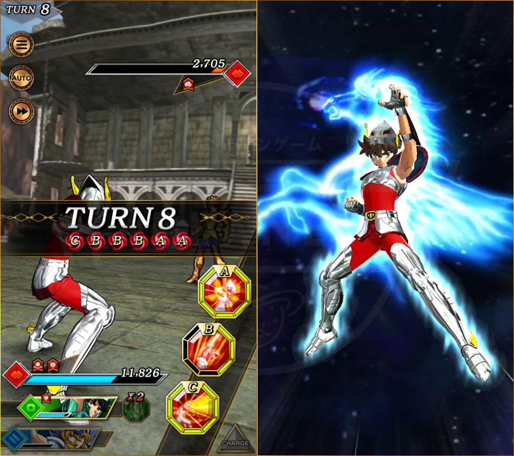 聖闘士星矢 シャイニングソルジャーズ(星矢SSS) チャージスキルをためて必殺技『セブンセンシズアーツ』を発動するスクリーンショット