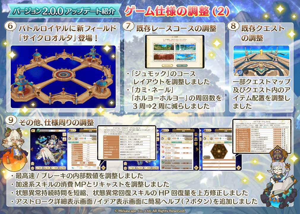 ローリングスフィア バージョン2.0.0ゲームの仕様調整紹介イメージ
