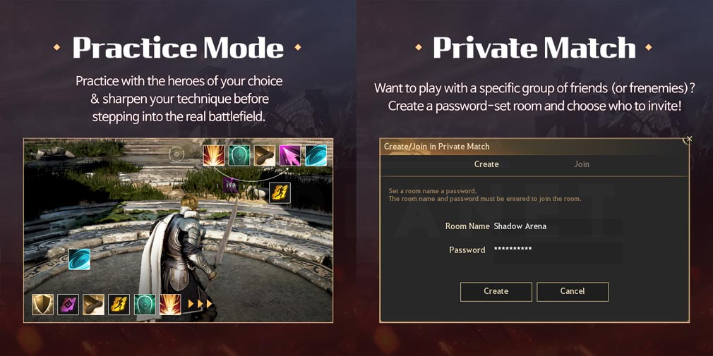 シャドウアリーナ(Shadow Arena) 『練習モード』、『プライベートマッチングモード』紹介イメージ