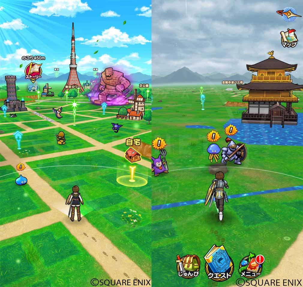 ドラゴンクエストウォーク(DQウォーク) 『東京タワー』、京都府『金閣寺』周辺マップスクリーンショット