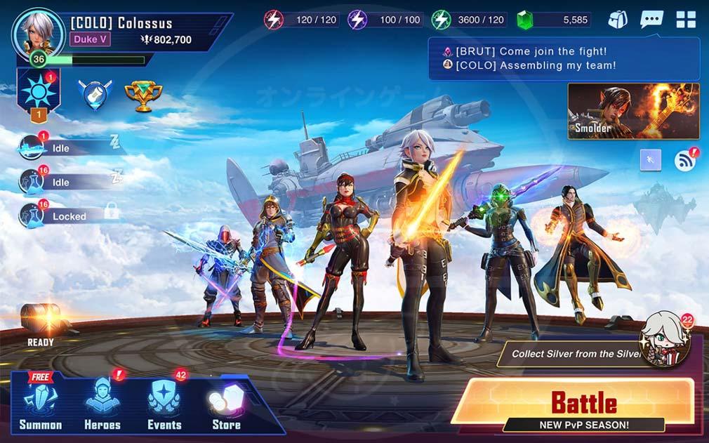 クリスタルボーン:ヒーローズ・オブ・フェイト(Crystalborne)クリフェ 収集キャラクターが並ぶホーム画面スクリーンショット