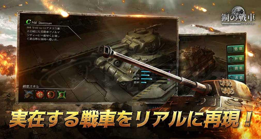 鋼の戦車 ワールドウォー(はがせん) リアルな戦車紹介イメージ