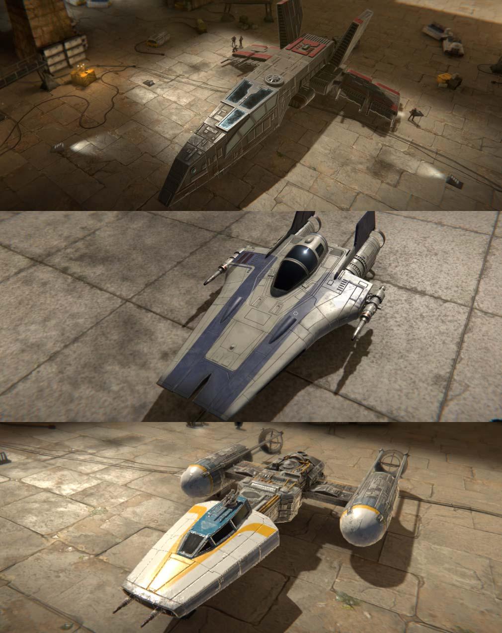 スターウォーズ:スターファイター・ミッション(Star Wars: Starfighter Missions) 陣営毎の戦闘機紹介イメージ