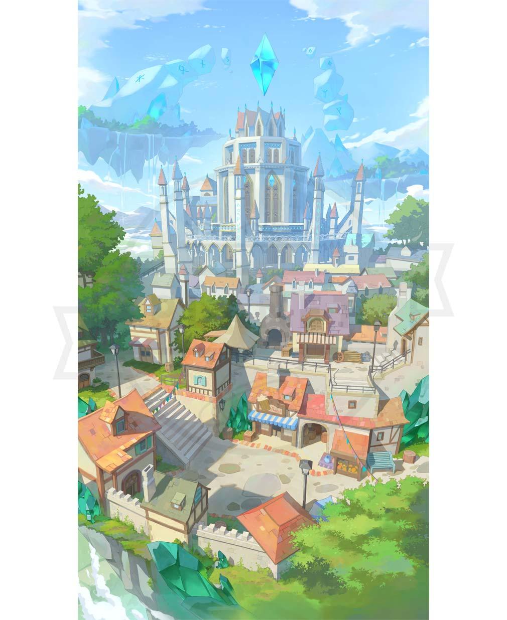 エースアーチャー ゲーム内で最初の拠点となる『ヴァルハラ聖殿』イラストイメージ