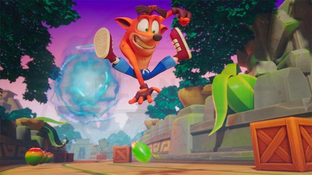 クラッシュ・バンディクー ブッとび!マルチワールド(Crash Bandicoot: On the Run) シリーズお馴染みアクション紹介イメージ