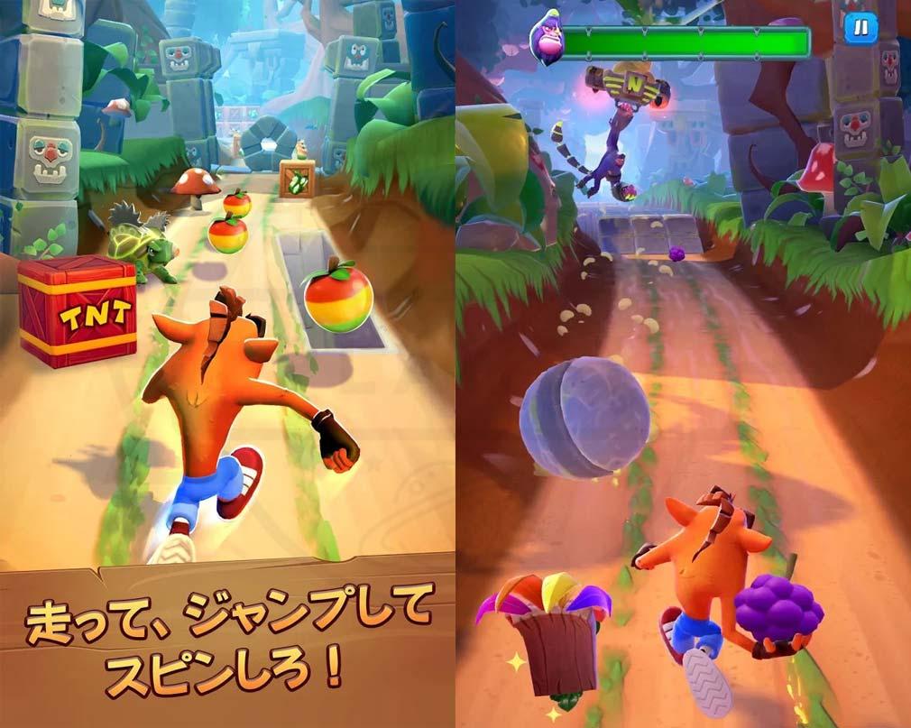 クラッシュ・バンディクー ブッとび!マルチワールド(Crash Bandicoot: On the Run) アクション、レース紹介イメージ
