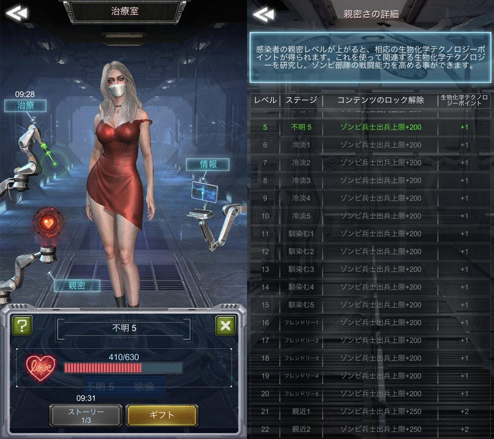 Age of Z(エイジ オブ ゼット)AOZ 治療室、親密度スクリーンショット