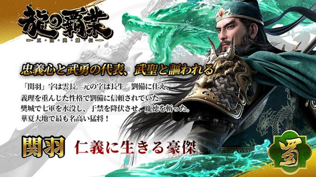 龍の覇業 三国英雄伝 キャラクター『関羽』紹介イメージ
