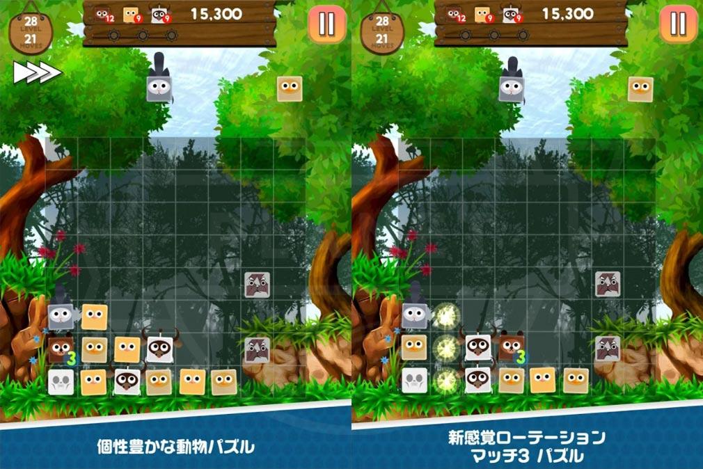 動物パニックパズル ローテーションしながら左下にブロックが積まれていくルールとマッチ3パズルが融合した紹介イメージ