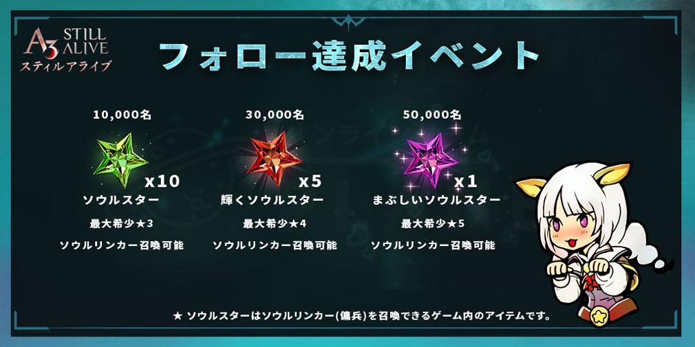 A3 STILL ALIVE スティルアライブ フォロー達成イベント紹介イメージ