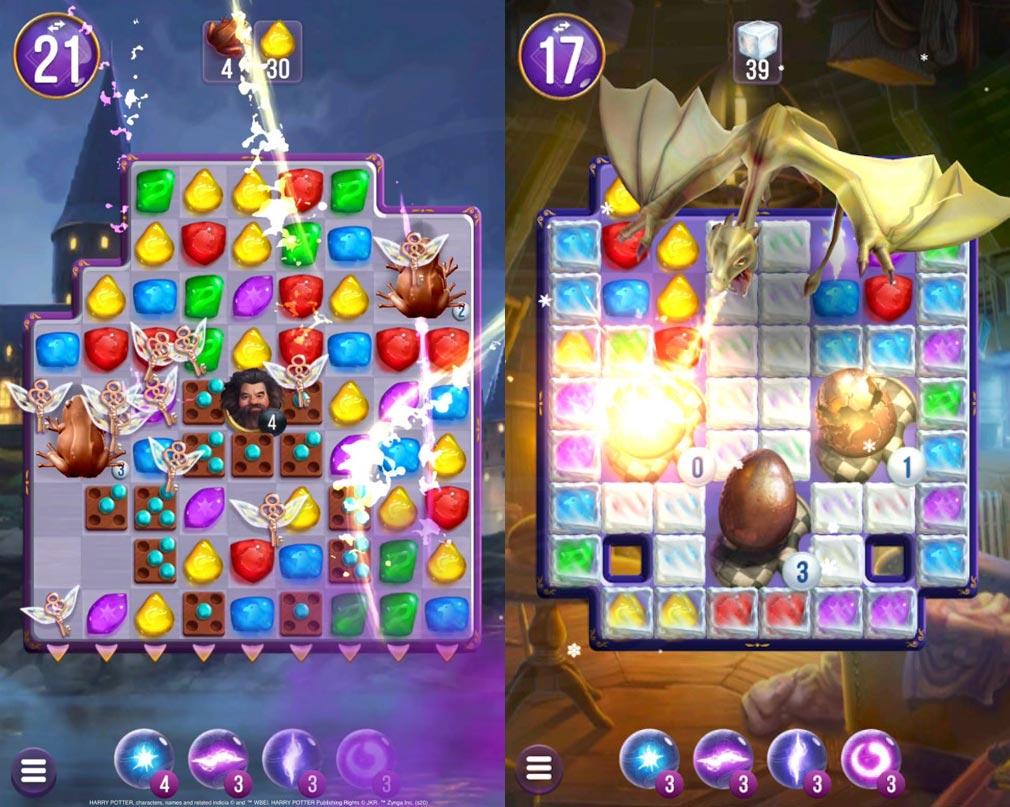 ハリー・ポッター 呪文と魔法のパズル 蛙チョコレートや、羽のついた鍵が飛び回るパズルスクリーンショット