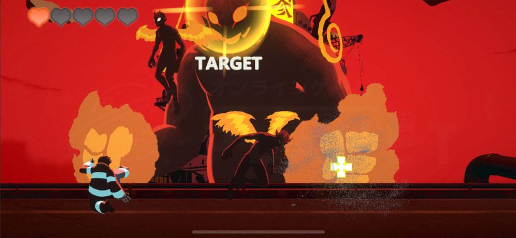 炎炎ノ消防隊 焰道の決戦 『シンラ』プレイ中にアイテム『クロス』が出現するプレイスクリーンショット