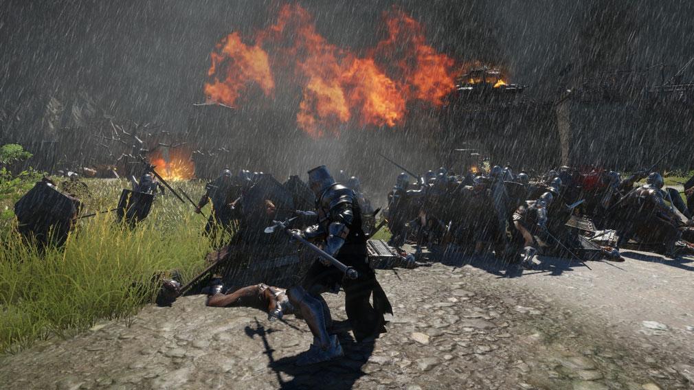 コンカラーズ・ブレード(Conqueror's Blade) 雨の中戦争を繰り広げるスクリーンショット