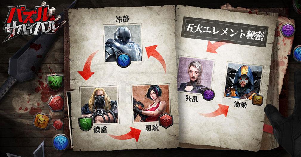 パズル&サバイバル(Puzzles& Survival) 性格×相性が強く関わっているマッチ3パズル紹介イメージ