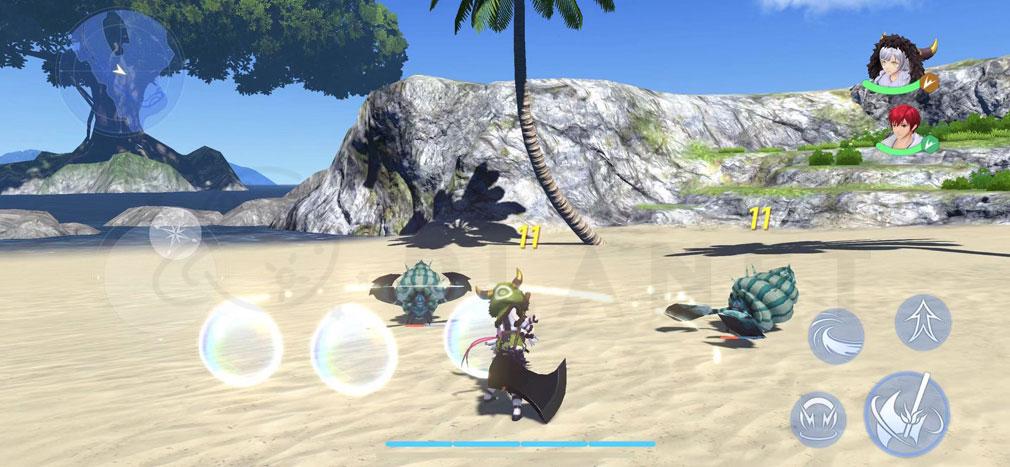 イースVIII モバイル(Ys8) 『セレイン島』を舞台にしたバトルスクリーンショット