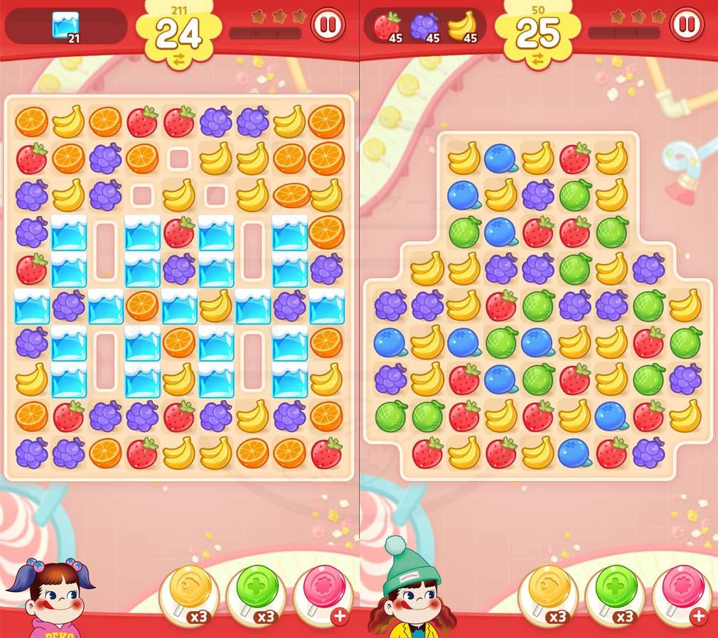 ペコポップ マッチ3パズル ギミックがあるステージ、フルーツが盛りだくさんのステージスクリーンショット