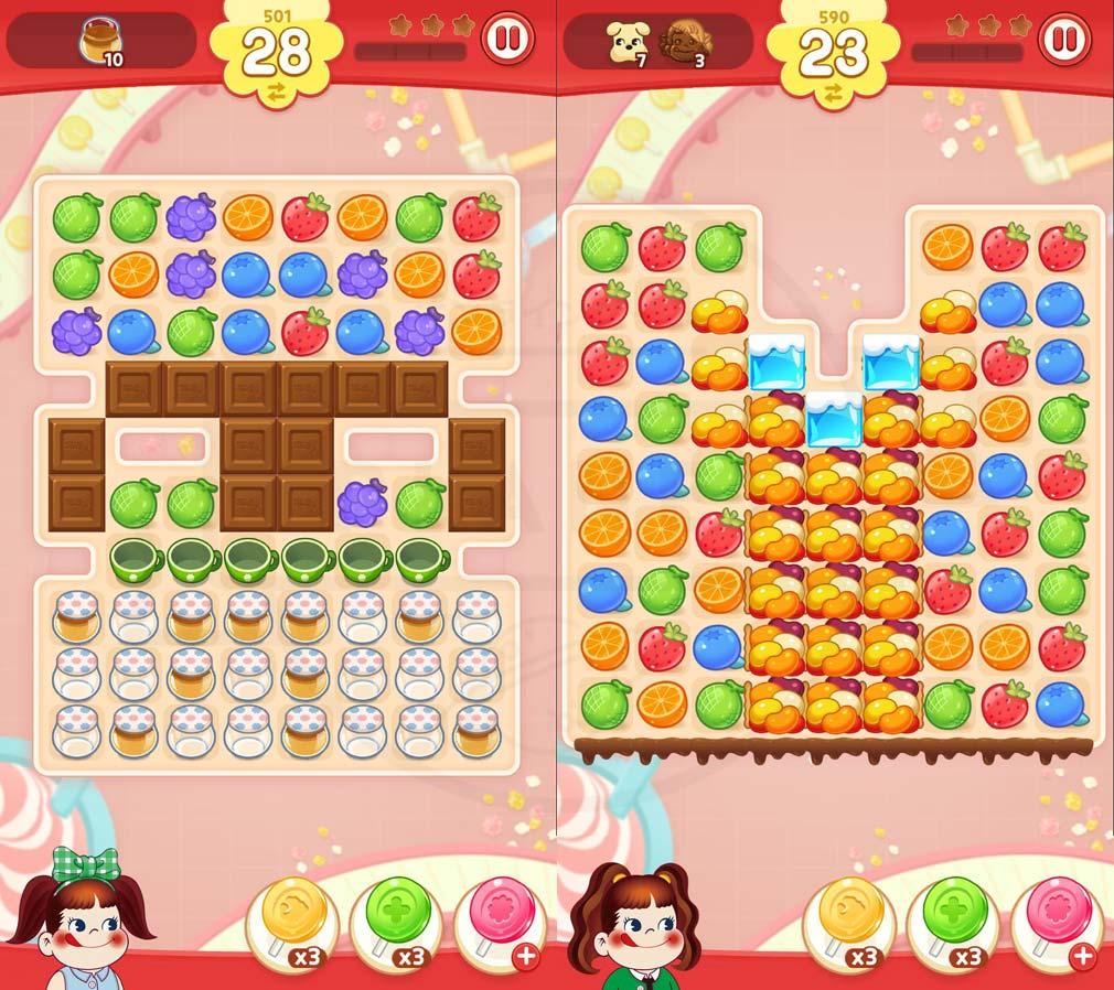 ペコポップ マッチ3パズル お菓子のギミックのステージスクリーンショット