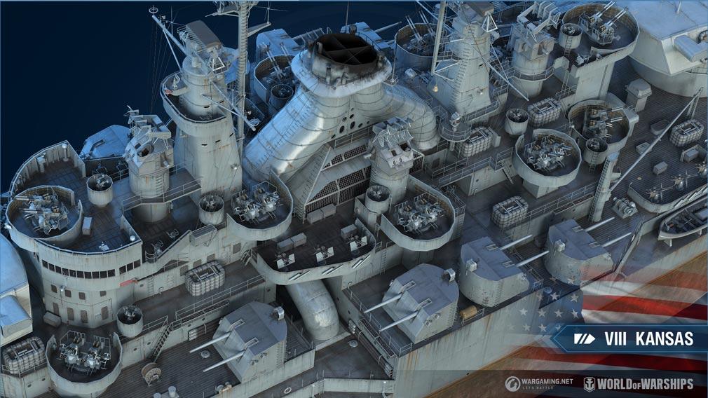 World of Warships(WoWs) Tier VIII『Kansas(カンサス)』甲板スクリーンショット