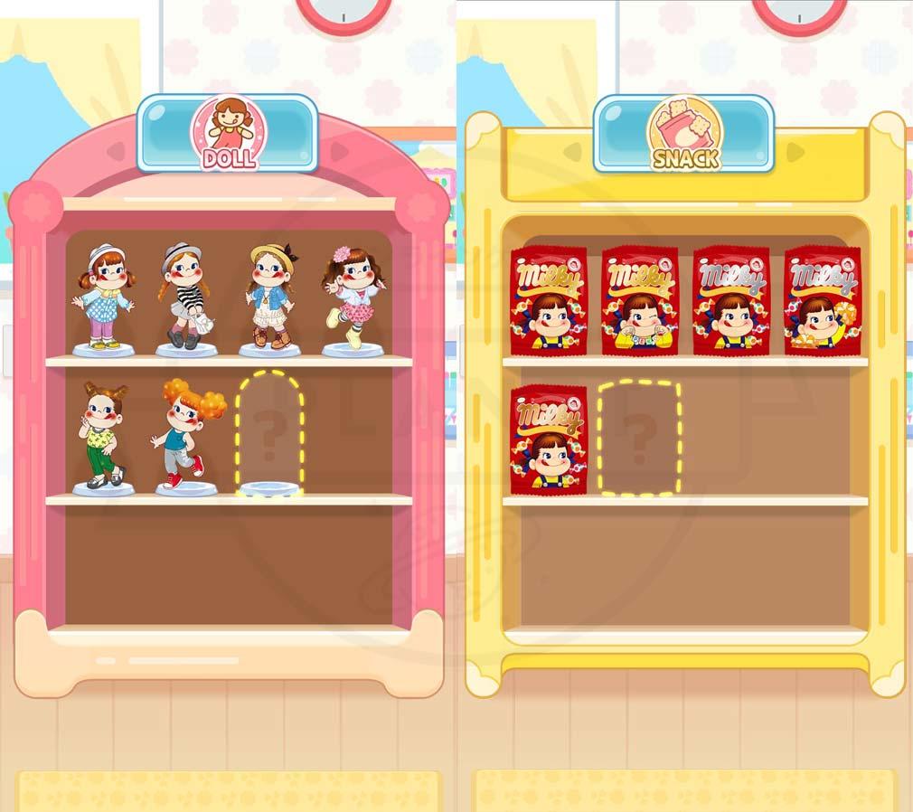 ペコポップ マッチ3パズル コレクションの棚は『フィギュア』『ミルキーパッケージ』スクリーンショット
