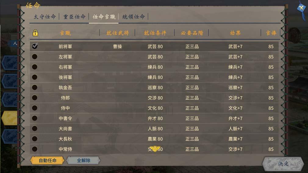 三國志漢末覇業 官職システムスクリーンショット