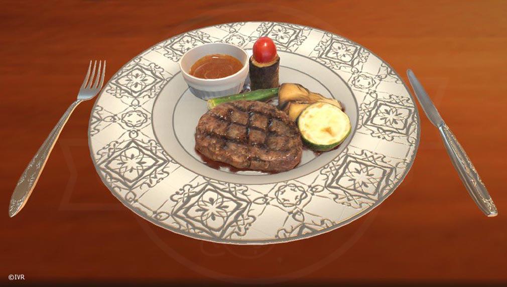 VRカレシ リアルなゲーム内に登場する『ステーキ』紹介イメージ