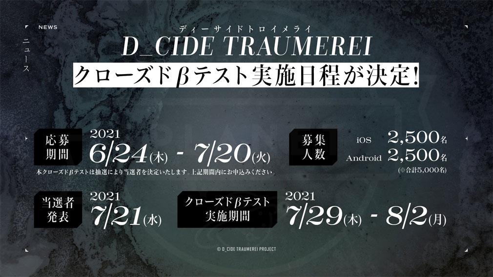 D CIDE TRAUMEREI(ディーサイドトロイメライ) クローズドβテスト(CBT)紹介イメージ