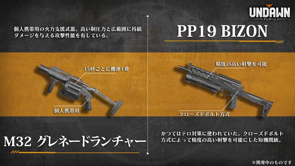 UNDAWN(アンドーン) 武器『M32 グレネードランチャー』と『PP19 Bizon』紹介イメージ