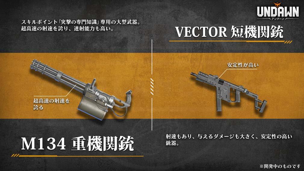 UNDAWN(アンドーン) 武器『M134重機関銃』と『Vector短機関銃』紹介イメージ