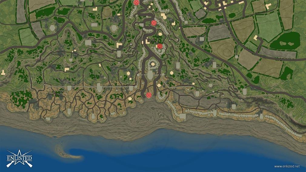 ENLISTED 『侵略』モードの1つであるノルマンディー海岸のミニマップスクリーンショット