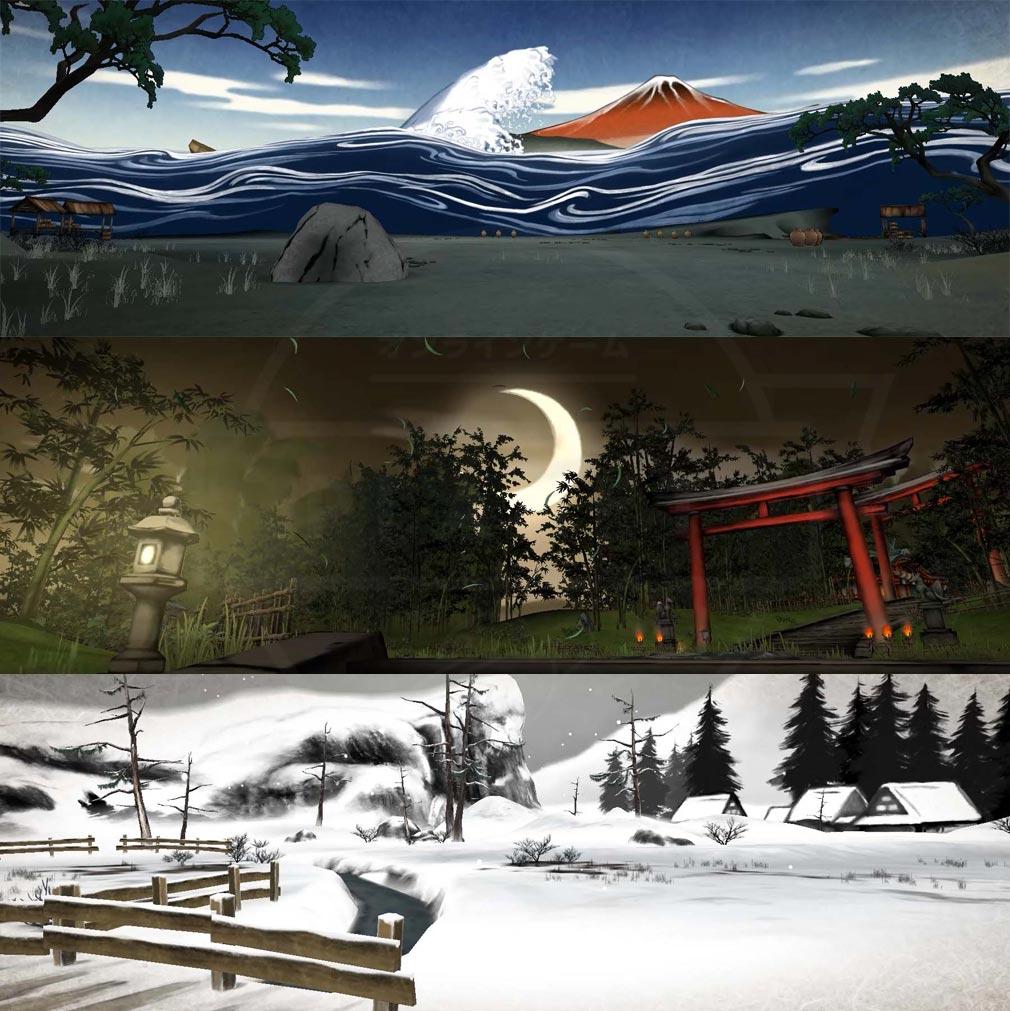 World of Demons 百鬼魔道 浮世絵や墨絵から着想を得た幻想的なステージスクリーンショット